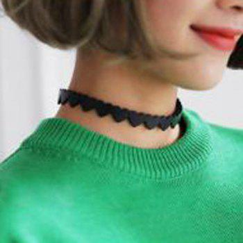 Faux Leather Heart Choker Necklace - BLACK BLACK