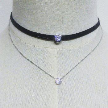 Double Layers Rhinestone Chain Choker Necklace - SILVER SILVER