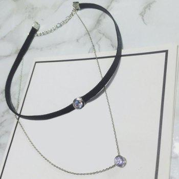 Double Layers Rhinestone Chain Choker Necklace -  SILVER