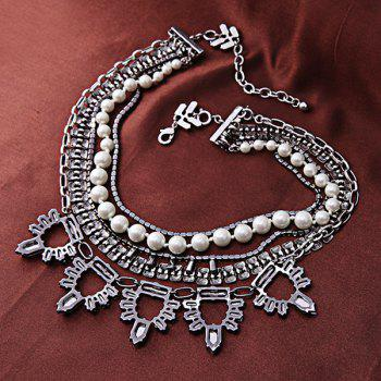 Faux Pearl Multilayered Alloy Necklace - WHITE