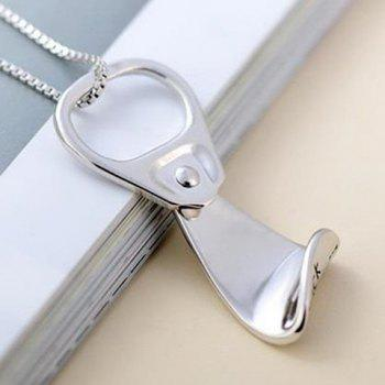 Can Tab Shape Pendant Necklace - SILVER SILVER