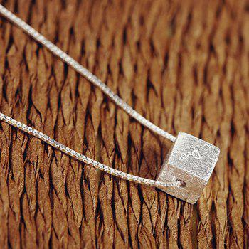 Cube Silver Plated Pendant Necklace - SILVER SILVER