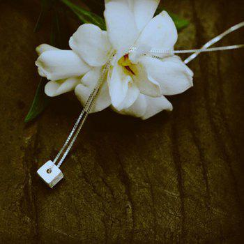 Cube Silver Plated Pendant Necklace -  SILVER