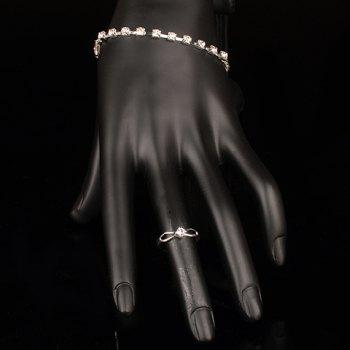 A Suit of Rhinestoned Geometric Necklace Earrings Bracelet and Ring - WHITE ONE-SIZE