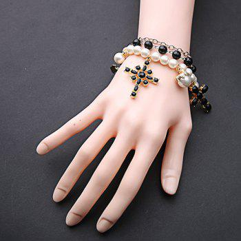 Multilayered Faux Pearl Cross Bracelet - WHITE