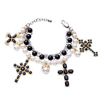 Multilayered Faux Pearl Cross Bracelet - WHITE WHITE