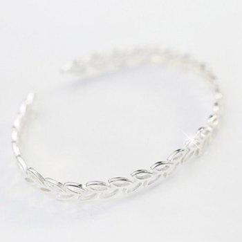 Hollow Out Leaf Opening Bracelet - SILVER SILVER