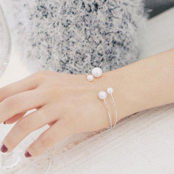 Faux Pearl Double Layers Cuff Bracelet - WHITE