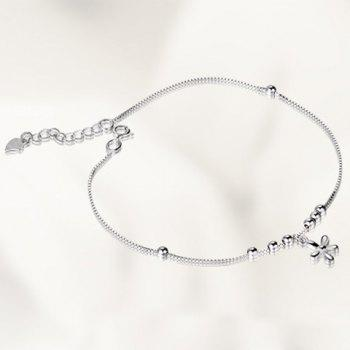 Floral Beads Heart Anklet - SILVER SILVER