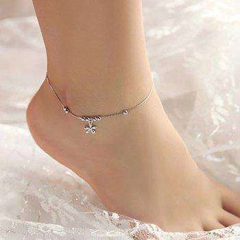 Floral Beads Heart Anklet -  SILVER