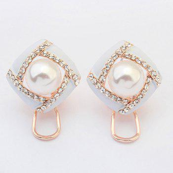 Pair of Hollow Out Faux Pearl Earrings - WHITE WHITE