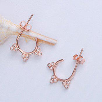 Pair of Rhinestoned Clover Stud Earrings - ROSE GOLD ROSE GOLD
