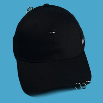 Stylish Circle Rings and Embroidery Embellished Men's Black Baseball Cap