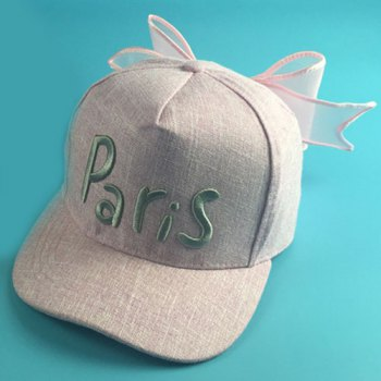 Chic Letters Embroidery Big Bowknot Women's Baseball Cap - PINK PINK