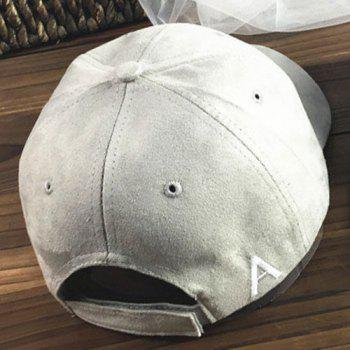Chic Letter A Embroidery Side Women's Suede Baseball Cap -  LIGHT GRAY