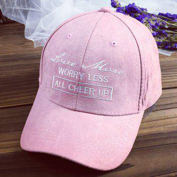 Chic Letters Embroidery Solid Color Women's Suede Baseball Cap - PINK PINK