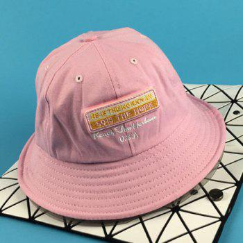 Chic Removable Applique and Letter Embroidery Design Women's Bucket Hat - PINK PINK