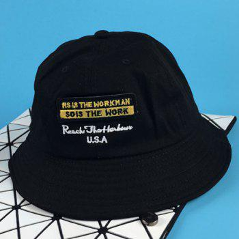 Chic Removable Applique and Letter Embroidery Design Women's Bucket Hat - BLACK BLACK