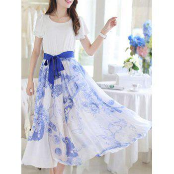 Sweet Short Sleeve Belt Tie Floral Print Chiffon Dress