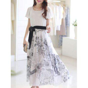 Sweet Floral Print Short Sleeve Belt-Tie Women's Chiffon Dress