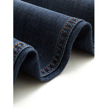 Zipper Fly Cat's Whisker Bleach Wash Straight Leg Slimming Men's Jeans - DEEP BLUE 29