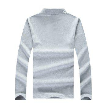 Stand Collar V Style Letters Print Long Sleeve Men's Polo T-Shirt - GRAY L