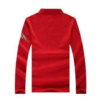 Support Polo T-Shirt Col V Style Letters Imprimer manches longues hommes  's - Rouge 2XL