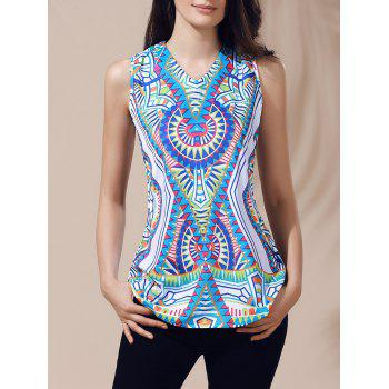 Ethnic Women's V-Neck Printed Cut Out Top - GREEN GREEN
