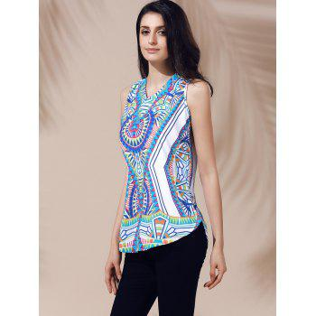 Ethnic Women's V-Neck Printed Cut Out Top - XL XL