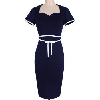Sweetheart Neck Short Sleeve Bodycon Dress For Women