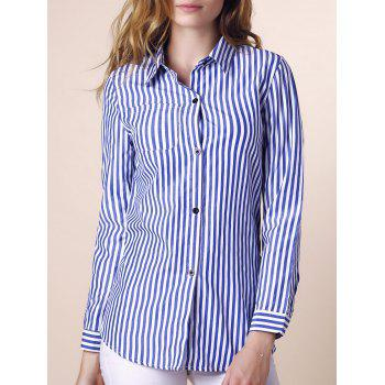 Casual Shirt Collar Stripes Print Long Sleeve Women's Blouse