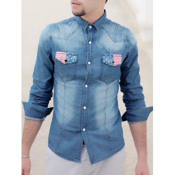 Bleach Wash Turn-Down Collar Flag Print Long Sleeve Pocket Men's Denim Shirt