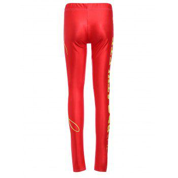 Sports Elastic Waist High-Waisted Bodycon Letter Print Women's Leggings - RED XL