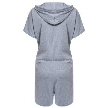 Sporty Women's Hooded Solid Color Drawstring Romper - GRAY XL