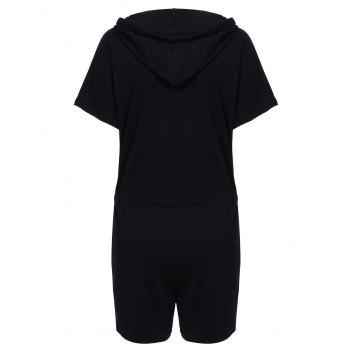 Sporty Women's Hooded Solid Color Drawstring Romper