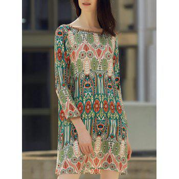 Ethnic Style Printed Slash Neck Back V-Shape Design Dress For Women