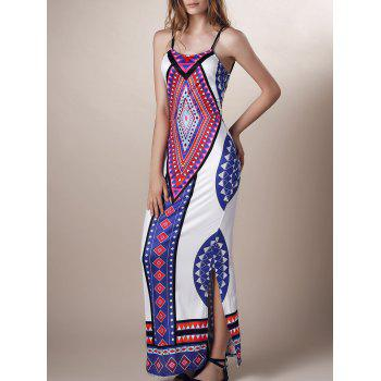Geometric Print Backless Side Slit Dress