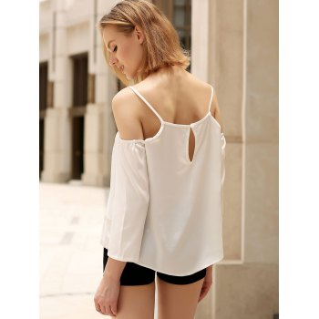 Simple Spaghetti Strap Embroidered Geometric Pattern Women's Tank Top - WHITE S