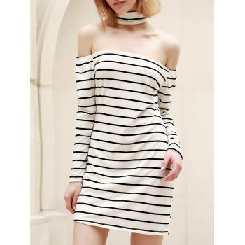 Chic Turtleneck Long Sleeve Striped Bodycon Women's Dress