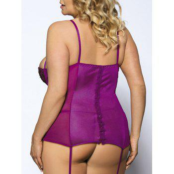 Plus Size Alluring Spaghetti Strap Lace Cut Out Bowknot Slimming Women's Babydoll - PURPLE XL