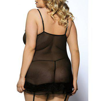 Plus Size Alluring Spaghetti Strap V-Neck See-Through Ruffled Fitted Women's Babydoll Suit - BLACK BLACK