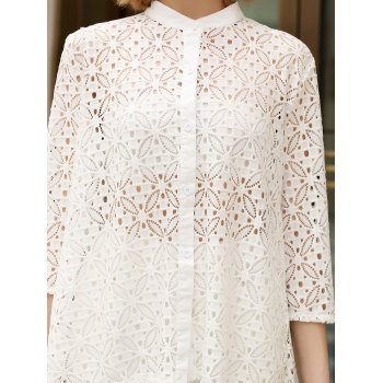 Trendy Stand Collar 3/4 Sleeve Lace Hollow Out White Women's Cover-Up Blouse - M M