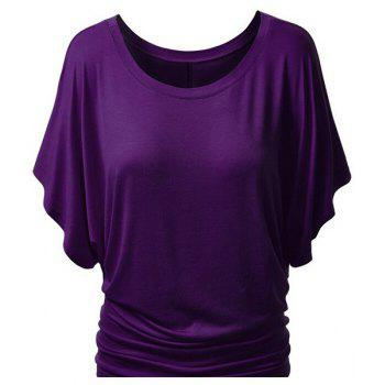 Trendy Bat Sleeve Jewel Neck Pure Color T-Shirt For Women