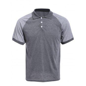 Vogue Color Block Turn-down Collar Short Sleeves Men's Polo T-Shirt