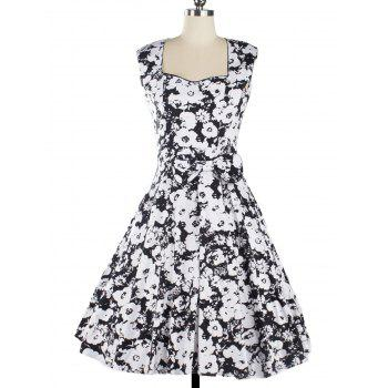 Vintage Women's Floral Print Sleeveless Sweetheart Neck Dress
