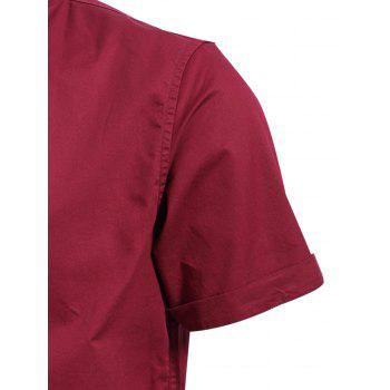 Vogue Turn-down Collar Solid Color Short Sleeves Fitted Polo T-Shirt For Men - DARK RED M