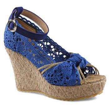 Sweet Hollow Out and Peep Toe Design Women's Wedge Shoes - BLUE BLUE