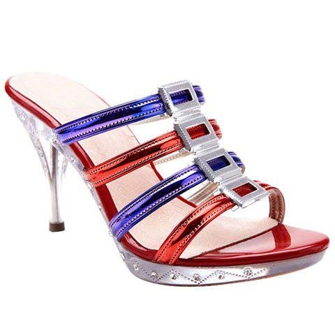 Stylish Platform and Color Block Design Women's Slippers - BLUE/RED 39