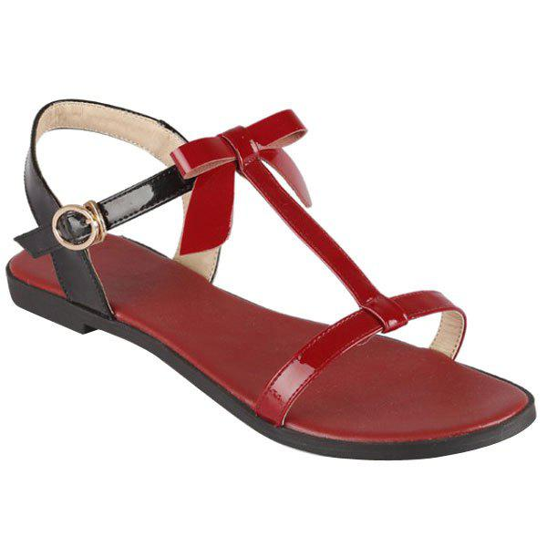 Casual T-Strap and Color Block Design Women's Sandals