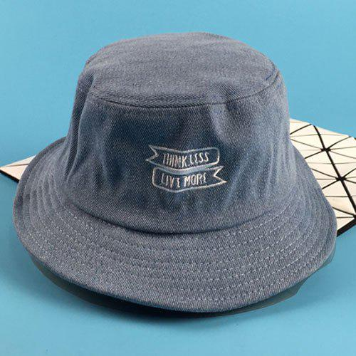 Stylish Letters and Labelling Embroidery Flat Top Men's Bucket Hat - LIGHT BLUE